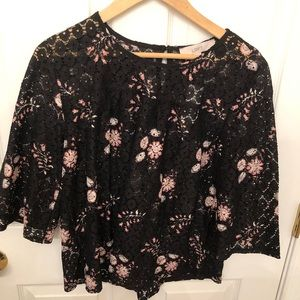 NWT black floral lace top. Loft size medium